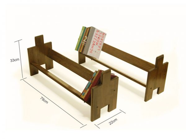 Wooden Stackable Book Shelf – Book Builder Small – 2 Units ( Walnut Colour ) 3